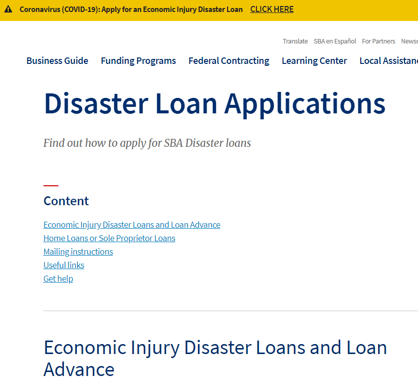 EIDL Disaster Loan Application